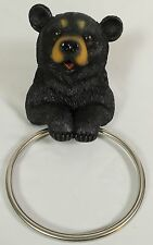 BLACK BEAR TOWEL HOLDER Wall Rack Ring Resin NEW Kitchen Bathroom Wildlife LE
