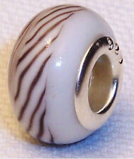Neutral Brown White Striped Murano Glass Bead for Silver European Charm Bracelet