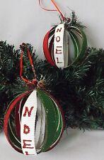 Adornos Para Árbol De Navidad Set 2 Grande Rojo Y Verde Hecho A Mano Abrir Noel