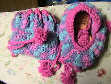 DOLL CRADLE PURSE with removable doll with hair & clothes-PURPLE~PINK crochet