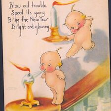 "KEWPIE DOLLS ""BLOW OUT TROUBLE"" NEW YEAR HAPPINESS,O'NEILL,VINTAGE POSTCARD"
