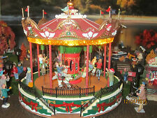 "TRAIN VILLAGE HOUSE ""CARNIVAL MUSICAL BOARDWALK SANTA CAROUSEL"" + DEPT 56/LEMAX"
