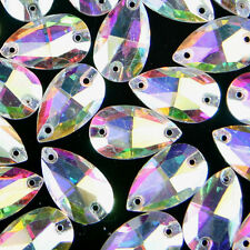 12pcs (18x11mm) Aurora AB Sew On Teardrop Shape Crystal Glass Gems Dress Making