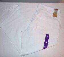 NEW DKNY JEANS Women's Classic Cotton Blend Cinched Hem Capris Pants White 8