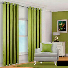 Ring Top Fully Lined Pair Eyelet Ready Made Curtains Faux Silk Bedroom Tie Backs