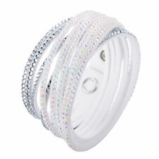 Crystal Closure Cuff Rhinestone Slake 2 in 1 White Bracelet Swarovski Element