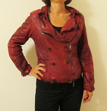 New Giorgio Brato Red Distressed Vintage Leather Jacket 44 6 Puffer Biker Zipped
