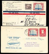 (2) DIFFERENT AIRMAIL ZEPPELIN COVERS OCT 1928 BT5825