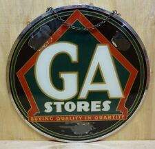 Orig Old GA STORES Grocery Country Store Co-op Sign reverse glass double sided