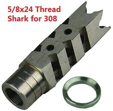 304 Stainless Steel 5/8x24 Thread 308 Shark Muzzle Brake, Stainles Steel Washer