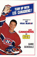 1988-89 MONTREAL CANADIENS HOCKEY POCKET SCHEDULE - FRENCH AND ENGLISH - TVA