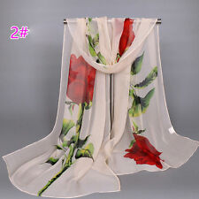 Beige Women's Long Soft Wrap Rose Flower Print Chiffon Lady Shawl Silk Scarf