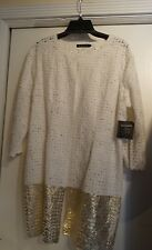 Zozo Nwt L $358 Handprinted White/Gold Ribbon Braided Cotton Cardigan SAVE 75%!