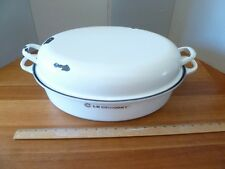 LE CREUSET CAST IRON LARGE OVAL ROASTER#43 WHITE WITH LID