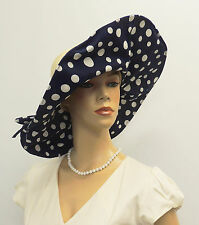 New VTG Retro Extra-large Brim Raffia Polka Dot Sun Hat 1920's 1940's in Navy