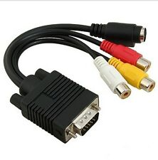 NEW VGA to S-Video AV TV Out + 3 RCA Composite Converter Adapter Cable