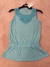 Stunning BNWT George Girls Age 9-10 Turquoise Lace Sleeveless T-shirt Top, See P