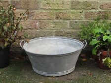 Vintage Industrial Old Small Galvanised Metal Tub Garden Planter Pot. #4531