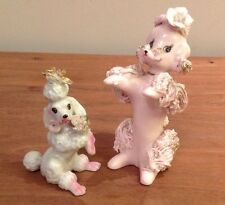 Vintage Pink & Gold Spaghetti Ceramic Figurine Poodle By Giftcraft Japan Wow!