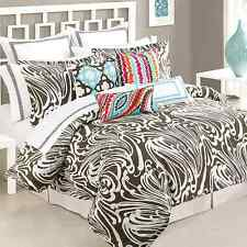 TRINA TURK SEAFOAM FULL QUEEN SIZE, BROWN AND WHITE DUVET COVER, ABSTRACT