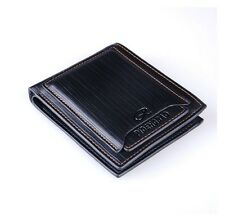 black Stylish Men's Leather Wallet Pocket Card holder Clutch Bifold money Purse