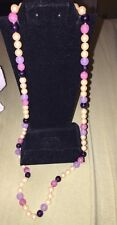 "LES BERNARD 30"" Creamy Knotted faux PEARL Purple PINK Necklace"