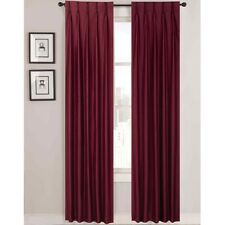 """Supreme Palace Satin Pinch-Pleat Lined Curtain 2Panel 50x63"""" Cranberry A24"""