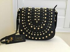 Authentic New LIONEL Faux Leather BLACK Gold Stud Cross Body Purse Hand bag NWT