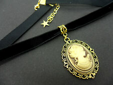 A LADIES GIRLS 10MM BLACK VELVET & GOLD  CAMEO CHOKER NECKLACE . NEW.