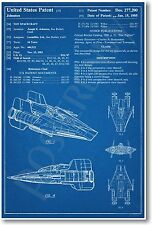 Star Wars A-Wing Spaceship Patent - NEW Invention Patent Movie Art POSTER