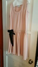RED VALENTINO Pink Dress with Black waist tie, size Large FREE SHIPPING