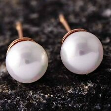 Fashion Jewelry 18K Rose Gold Plated Womens/Girls 5mm White Pearl Stud Earrings