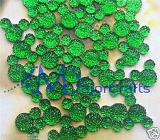 40x Green 14mm Flat Back Mickey Minnie Mouse Head Resin Glitter Rhinestones Gems