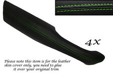 GREEN STITCH 4X DOOR HANDLE ARMREST LEATHER COVERS FITS RANGE ROVER P38 94-02