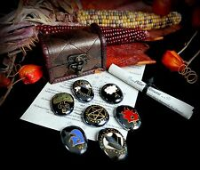 Witches Altar Stones & Chest Set Wicca God & Goddess Earth Air Fire Water Pagan