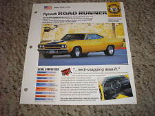 USA 1968-1970 Plymouth Road Runner Hot Cars Group 8 # 9 Spec Sheet Brochure
