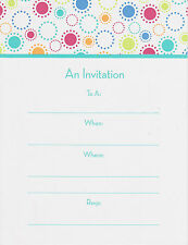 CHIC PARTY INVITATIONS Write-In Adult Birthday Contemporary Colorful Cards NEW