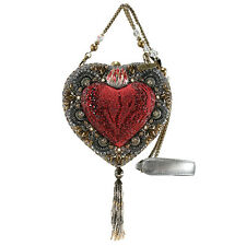 Mary Frances Mi Corazon Heart Shaped Box Red Silver Beaded Handbag Purse Bag New