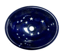 #102 LARGE BATHROOM SINK 21X17 MEXICAN CERAMIC HAND PAINT DROP IN UNDERMOUNT