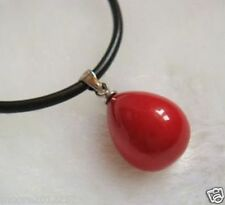 12mm Water drops Red Shell Pearl Pendant Necklace Black leather chain