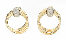 STYLISH SOLID 14K YELLOW & WHITE GOLD LADIES DIAMOND HOOP STYLE EARRINGS 2.1 GR