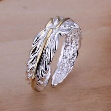 New Women Men 925 Sterling Silver Plated Carved Feather Band Ring Jewelry Size 8