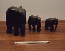3 Éléphants, miniature, bois noir,  statuette, sans défenses
