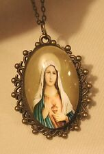 Lacy Rim Brasstn Beige Starry Immaculate Heart Mary Cameo Medal Pendant Necklace