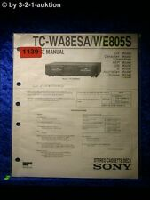 Sony Service Manual TC WA8ESA / WE805S Cassette Deck (#1139)