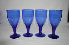 SET OF 4 BEAUTIFUL COBALT BLUE GLASS STEMMED GOBLETS