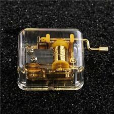 Acrylic Mechanical Movement Hand Crank Music Box Kids Girl Gift 11 Types Song