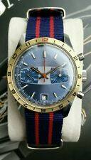"Vintage Valjoux 7734 Racing ""GMT"" Chronograph, turnable Bezel, Blue dial, NICE!"