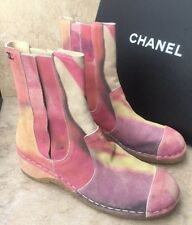 New Chanel Pink Water Color Printed Calfskin Short Boots EU 37.5. Org. $1275