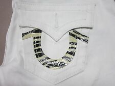 TRUE RELIGION JULIE ZEBRA WOMENS SKINNY SLIM FIT BODY RINSE WHITE JEANS SIZE 26